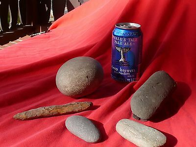 Original Native American Indian Illinois 5 Piece STONE WAR CLUB Tools & Pestle