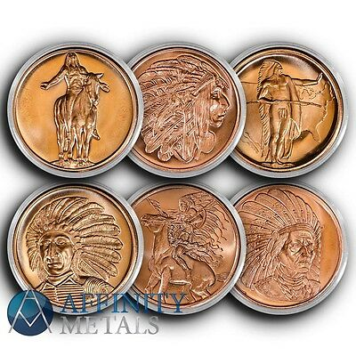 6 Coins Native American Indian Series 1 oz Copper Bullion Rounds In Caps