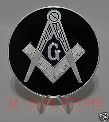 Masonic  BLACK/Silver Meanings Auto Emblem Car Lodge Mason Freemason
