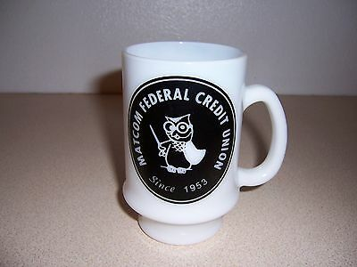 Vtg Matcom Federal Credit Union Milk Glass Owl Coffee Mug