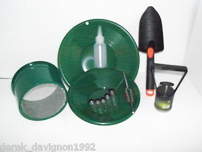 "INTERNATIONAL Green Mini Classifier Screen Gold Pan Panning Kit 10"" & 8"" Green"