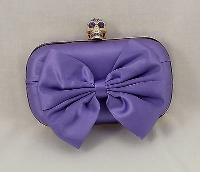 New Satin Purple Front Bow with Gold Skull Clasp Rhinestones Small Clutch Bag