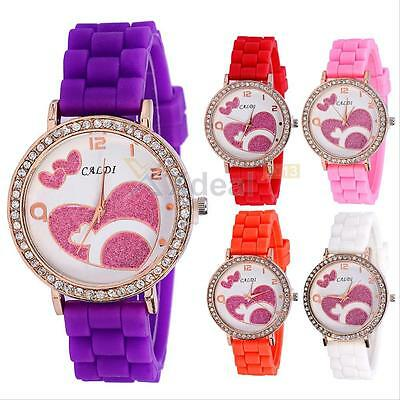 New Ladies Women Girl Geneva Silicone Quartz Love pattern Jelly Wrist Watch Gift