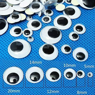 520Pcs 5-20mm Mixed Wiggly Wobbly Googly Eyes Self-adhesive Scrapbooking Crafts