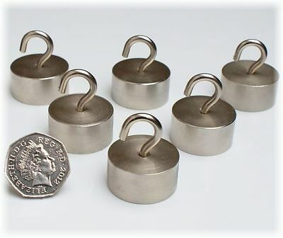 6 x LARGE Silver Neo MAGNETIC HOOKS ~ 30mm x 15mm ~ HEAVY DUTY ~ Pull 28kg