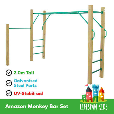 Lifespan Amazon Monkey Bars Backyard Toy Including Wooden Posts AS PICTURED