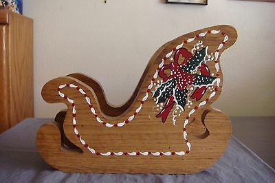 NEW Hand Crafted SANTA CLAUS Sleigh Piece Christmas Decor Painted Wooden
