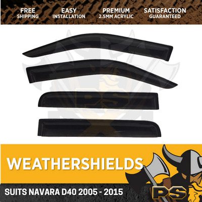 Superior Weathershields for Nissan Navara D40 10-15 Window Visors Weather Shield