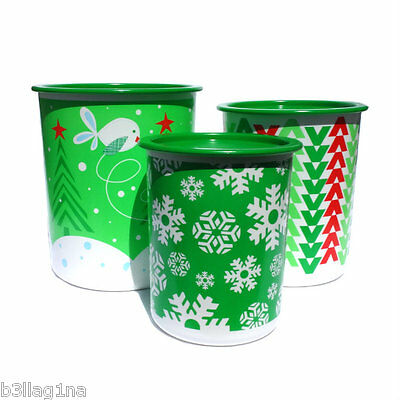 Tupperware New Christmas Instant Tall Canister Canisters Set x 3 green red white