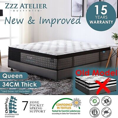 QUEEN Mattress *5 Zone Pocket Spring Mattress Latex Foam EuroTop *Chiro Endorsed