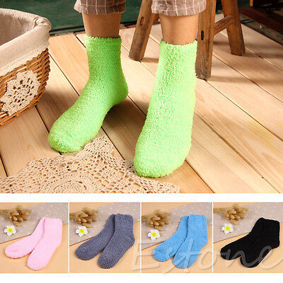 Girls Womens Bed Socks Striped Pure Color Soft Fluffy Warm Winter Kids Gift Sock