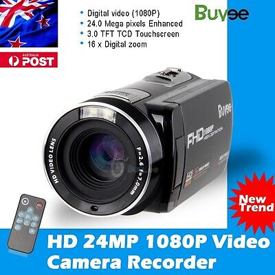 "24MP Buyee HD 1080P Digital Video Recorder Camera 3.0"" LCD Touchscreen Camcorder"