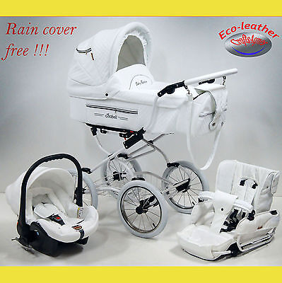 Isabell Pram pushchair baby buggy retro classic eco-leather 3 in1 Travel System