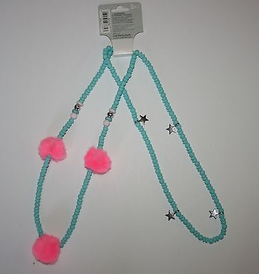 New Carter's 2 Strand Blue Beaded Star and Pompon Necklace NWT Jewelry Accessory