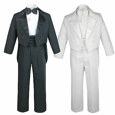 Black White Baby Toddler Kid Teen Boy Formal Wedding Party Tail Tuxedo Suit S-20