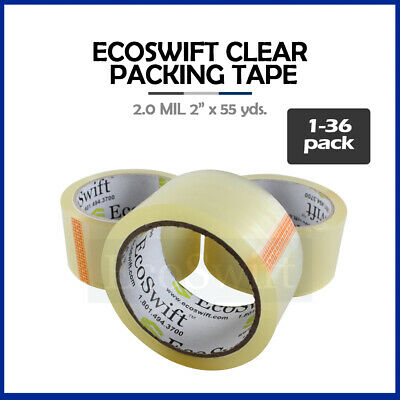 "1-36 Roll EcoSwift Packing Packaging Carton Box Tape 2.0mil 2"" x 55 yard 165 ft"