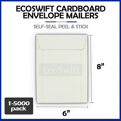 1-5000 6 x 8 EcoSwift CD/DVD Self Seal Photo Ship Flat Cardboard Envelope Mailer