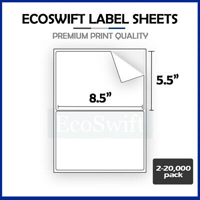 2-20,000 8.5 x 5.5 EcoSwift Shipping Half-Sheet Self-Adhesive eBay PayPal Labels