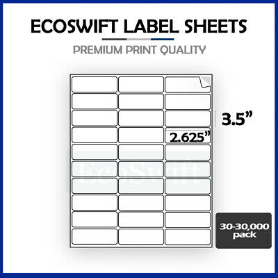 30-300,000 1 x 2 5/8 EcoSwift Laser Address Shipping Adhesive Label 30 per sheet