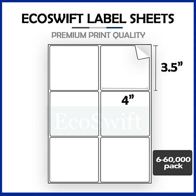 "6-60,000 4 x 3 1/3 ""EcoSwift"" Laser Address Shipping Adhesive Labels 6 per sheet"