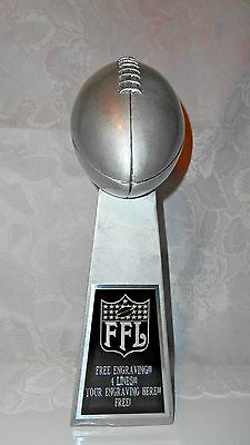 """Fantasy Football 14"""" Silver  Lombardi Trophy/1 Day Shipping!! Free Engraving!!!"""