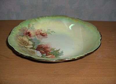 Vintage Antique China Bowl Iridescent Green Pink & White Flowers GORGEOUS