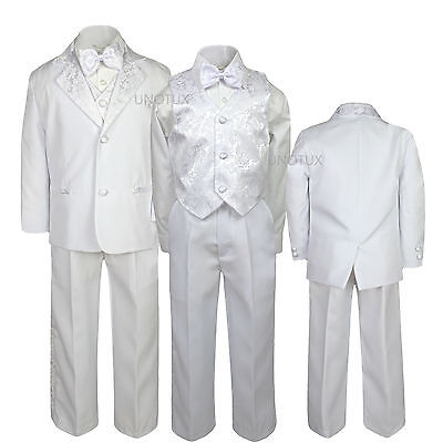 White Baby Toddler Kid Teen Boys Formal Wedding Bow Tie Paisley Tuxedo Suit S-20