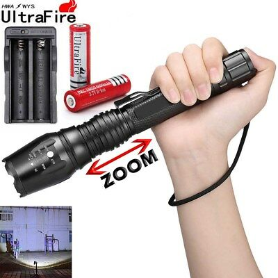 Zoomable 8000 LM 5 Mode CREE XML T6 LED Flashlight With 18650&Charger Torch Lamp
