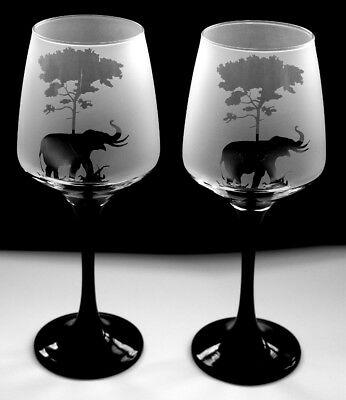 mother /& baby New etched Elephant gift Wine Glasses Boxed