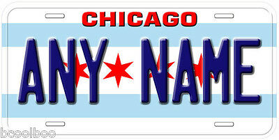 Chicago City Flag Illinois Any Name Novelty Car License Plate