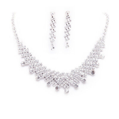Crystal Jewelry Set Silver Rhinestone Necklace Earrings for Bridal Wedding