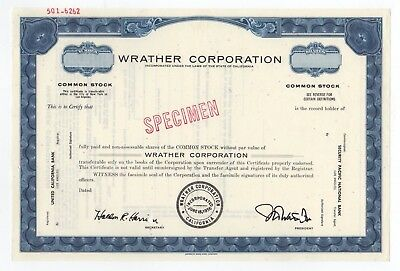 SPECIMEN - Wrather Corporation Stock Certificate