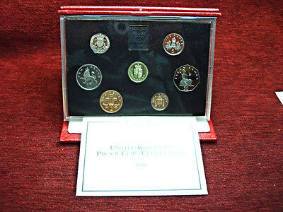 1988 United Kingdom Proof Coins Collection - Beautiful 7 Coin Set In Leather