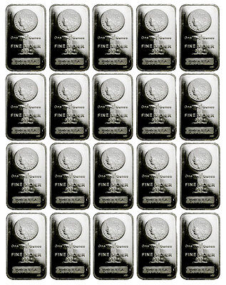 Lot of 20 - 1 oz .999 Fine Silver Bar Morgan Dollar Design Bars SKU33863