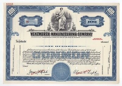 SPECIMEN - Wentworth Manufacturing Company Stock Certificate