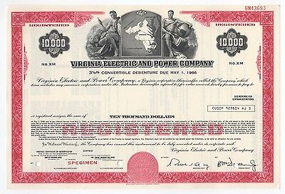 SPECIMEN - Virginia Electric And Power Company Bond