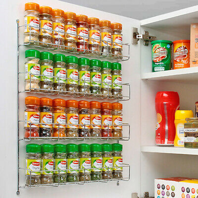 32pc Chrome 4 Tier Spice Rack Jar Holder for Wall or Kitchen Cupboard