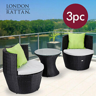 LONDON RATTAN Wicker 3 Piece Outdoor Furniture Set - Table Chairs Garden Setting