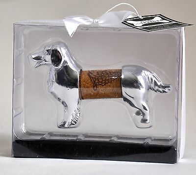 Dachshund Desk Pet Display Gift Wine Bottle Cork Holder Keeper Dog Keepsake Deco