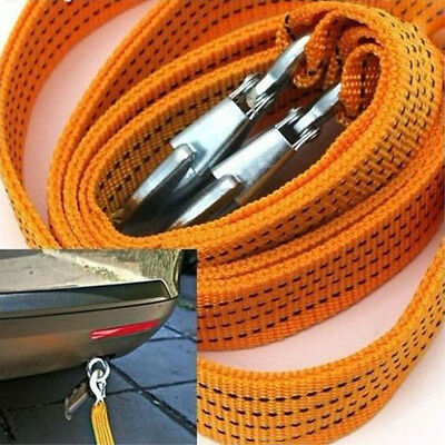 3 Ton Car Tow Cable Heavy Duty Towing Pull Strap Rope Hooks Nylon Forging Iron
