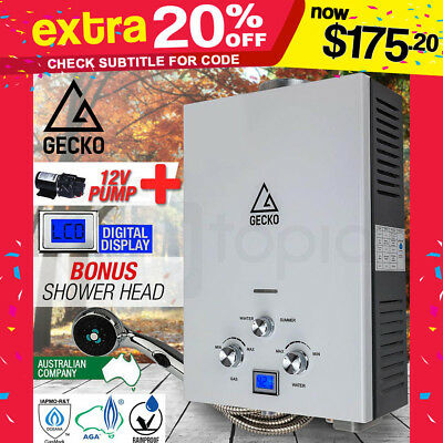 GECKO Gas Portable Shower Camping -Hot Water Heater  LPG Outdoor Instant Caravan