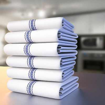 kitchen Dish Towels with Blue Stripe, Super Absorbent 100% Natural Cotton 12 New