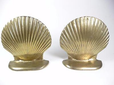 VTG Enesco Solid Brass Scallop Sea Shells Bookends Hollywood Regency Nautical