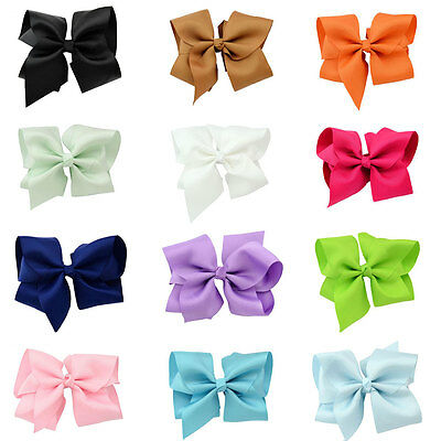 """Wholesale 12pcs 6.5"""" Girl Baby toddler child solid Boutique Hair Bows Clips"""