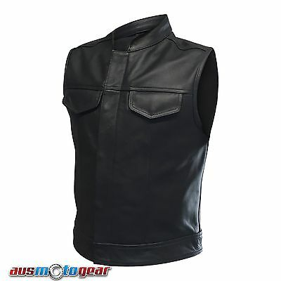 Motorcycle Sons Of Anarchy Style Premium Grade Cowhide Leather Vest jacket Black