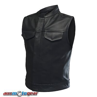 Motorcycle Sons Of Anarchy Style Top Grain Cowhide Leather Vest jacket Black