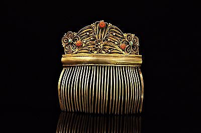 Antique  Amazing Ottoman Silver Gold Plated  Coral  For Lady Hair Buckle
