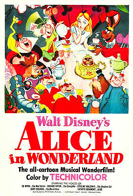 """""""ALICE IN WONDERLAND 1 """" Classic Childrens Animated Movie Poster A1A2A3A4Sizes"""