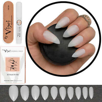 50x POINTED STILETTO FALSE NAILS - Full Cover Fake NATURAL OPAQUE Tips FREE GLUE