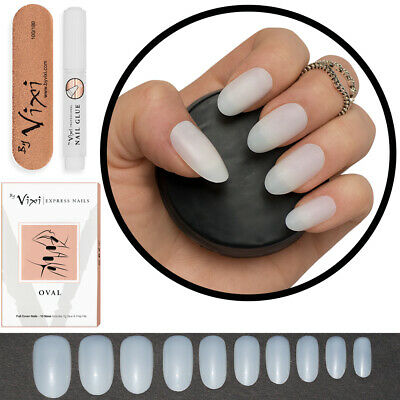 50 OVAL Short/Medium FALSE NAILS Full Cover Fake Natural Opaque Tips FREE GLUE